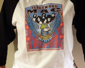Second Hand News Tee: Fleetwood Mac World Tour Vintage Baseball Style T-shirt