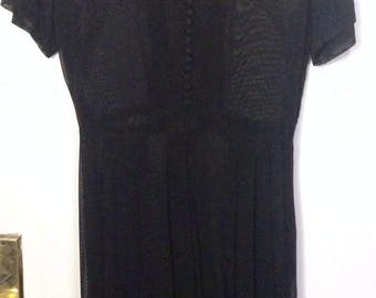 Vintage 1940s black sheer day dress 40s casual midi button detail full pleated skirt short sleeves wwii wartime retro vlv M 27 28