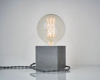 Concrete Table Lamp With Twisted Gray Textile Cable, Industrial Light,  Industrial Lighting, Concrete