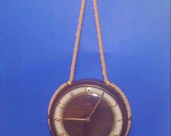 1950s Hanging Rope Clock, Nautical Clock, Mauthe-German Clock Maker