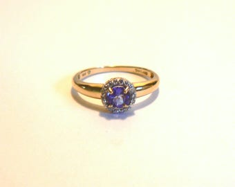 Vintage Tanzanite and Diamond 14K Yellow Gold Ring
