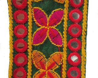 Indian Mirror Braid in Red and Orange on Green with Flower Motif and Mirror work
