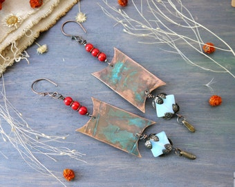 Earrings copper metal, Boho, Rusty blue Earrings, red coral, blue stone, flowers, moonstone, Metalsmith, Earthy Organic Style, Red Brass