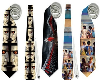 Necktie neck tie pink floyd Division Bell bells hamers the wall back album covers musicians rock cult band