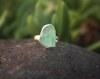 Raw Green Aquamarine Ring with Beaten Sterling Silver Setting - Size 6.5