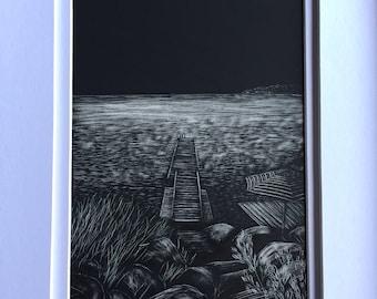 Framed Original Dock on the Bay Scratchboard Art 5x7