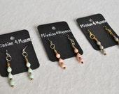 EARRINGS-*more colors*- Triple Drop Ugandan Recycled Paper Bead Earrings- Spring