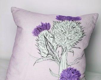 Thistle Pillow - Linen Cushion - Scottish Cushion - Scottish Pillow - 40cm x 40cm - Duck Feather Cushion - Throw Pillow -