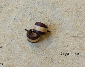 Wood Pin Earrings - Pair