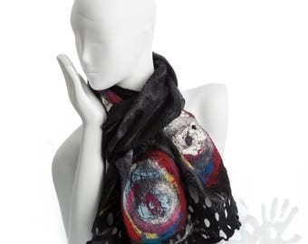 Universe and beyond/ Multi-color scarf / Nunofelt Scarf / Nuno felt Silk / Handmade shawl / Merino Wool / Ready To Ship/ Free shipping.