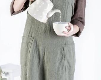 Linen Pinafore apron, Square Cross Linen Apron, Japanese Apron, Washed long apron, Oversized apron, Linen apron dress, Cross back apron
