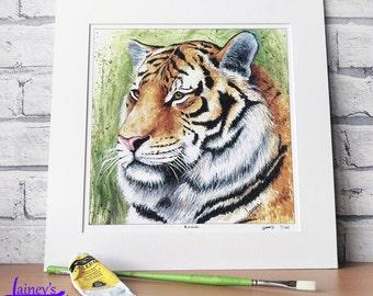 Tiger PRINT, tiger painting, tiger gift, tiger lover, limited edition print, bright tiger, Siberian tiger, king of the jungle print, Kaisari
