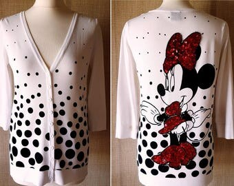 OUTLET! 10% OFF DISNEY 80s Cardigan Minnie embroidery with beads and sequins size M Authentic Vintage Made in Italy