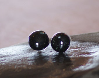Galaxy Sparkle Black Everyday Glass Studs for Her