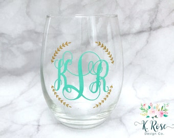 Monogrammed Wine Glass | Stemless Wine Glass | Monogram Wine Glass | Monogram Glass | Gift For Her | Bridesmaid Gift