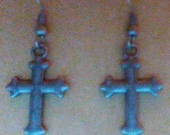 Antique Silver Cross earrings