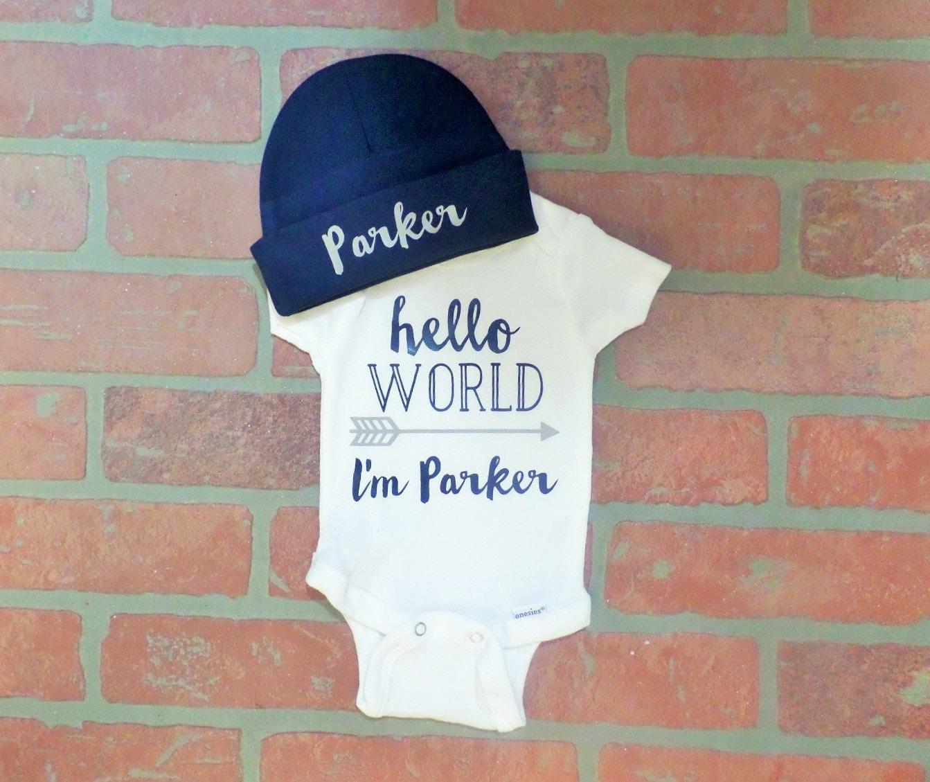 Hello World: Personalized Boy's Hello World Onesie With Navy Beanie Hat