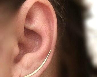 Ear Climber Earrings, Silver Sterling,Minimalist Silver Earrings, Simple Silver  Ear Climbers, Everyday Earrings, Earring Pin, Bar Earrings