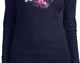 Ladies Breast Cancer Awareness Shirt Survivor Wings Long Sleeve Tee T-Shirt 18007-5001