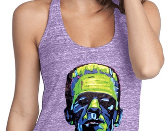 Ladies Frankenstein Face T-Back Tank Top 20719NBT2-DT250