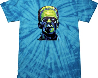 Men's Frankenstein Face Spider Tie Dye Tee T-Shirt 20719NBT2-1000S