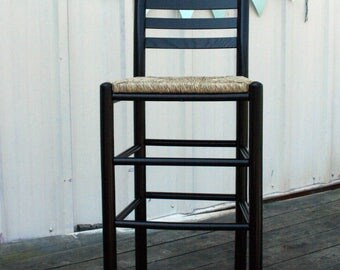 Wood Bar Height Bar Stool with Woven Seat