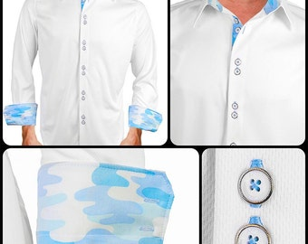 White with Blue Camo Moisture Wicking Dress Shirt - Made in USA