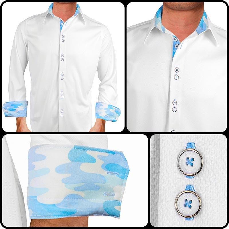 White with blue camo moisture wicking dress shirt made in for Moisture wicking dress shirts