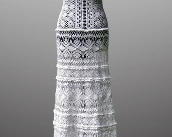 Crochet dress Daisy. Luminous white wedding or special occasion cotton crochet dress. Made to order. Free shipping.