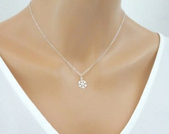 Dainty Snowflake Necklace, Delicate Sterling Silver  necklace