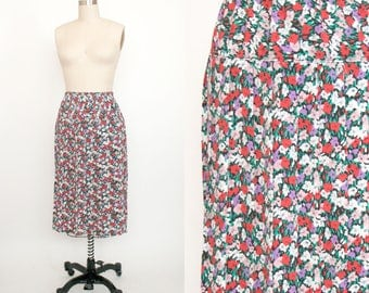 Vintage 1990s Elastic Waist Pleated Floral Skirt - Long Skirt - Calf Length - Boho - Women's Large