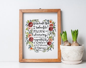 """Hillary Clinton """"Never Doubt that You are Valuable"""" Concession Speech Watercolor PRINT"""