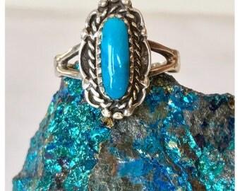 Vintage Southwestern Sterling Silver Turquoise Ring - Vintage Jewelry, Rings, Turquoise Rings, Blue Turquoise Southwestern Ring, Signed Ring
