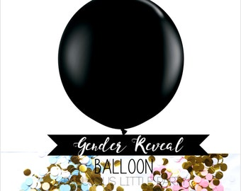 "36"" Gender Reveal Balloon Pink and Blue, Giant Confetti Balloon, Gender Reveal Party Baby Shower, Photo Props, Its a Boy, Its a Girl, Black"