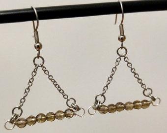 Geometric triangle silver chain and bead earrings handmade jewelry