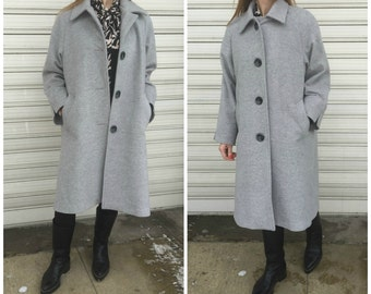 Wool Grey Coat with Pockets / Women Lined Cape Coat / Cashmere Grey Jacket / Long Sleeve Trench Coat / EXPRESS SHIPPING