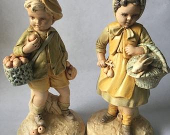 Vintage DESIGN ARTS INC Chalkware Dutch Boy and Girl Statues/Figurines