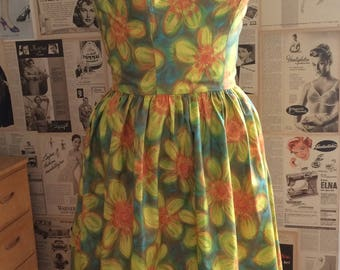 Vintage 1950's 1960's cotton satin Frederick's of Hollywood sun dress Pinup VLV Viva Las Vegas TikiOasis