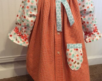 18-24 mos baby girl Peasant Dress, plaid w/red,turquoise,gold polka dots