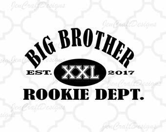 Big Brother Rookie Dept. SVG EPS DXf, Studio3 cut file set, Printable Png, Cricut Design Space Silhouette Studio Digital Cut Files, Sibling