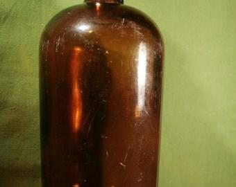 Vintage apothecary bottle with lid, medicine bottle, amber color glass Jar bottle