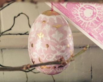 Easter eggs- hand made/papier mache/golf leaf- Easter gift/decor