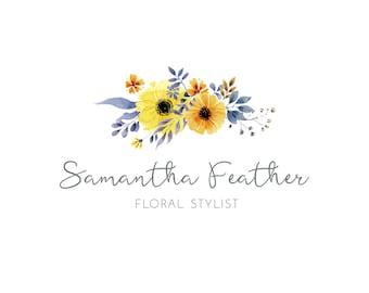 Floral Logo Design, Flower Logo, Premade Logo, Logo Design, Feminine Logo, Calligraphy Logo, Watercolor Logo, Photography Logo