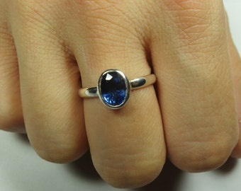 Kyanite sterling silver ring, free shipping, resizing availabe