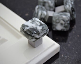 Granite-like glass knob, Grey and White Square Glass Cabinet Knobs on square silver base, entirely handmade in the USA