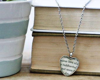 Siddhartha book page necklace