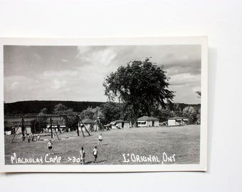 Macauley Camp L'Original Ontario Real Photograph Postcard / vintage Camp Postcard / vintage Camping Postcard / L'Original Postcard