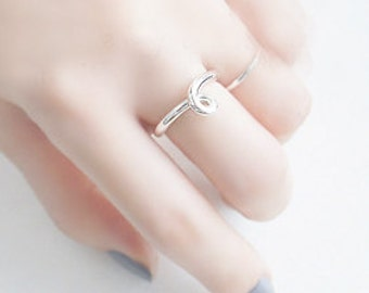 Silver Knot Ring 925 Sterling Silver Knot Ring Open Adjustable Knuckle Stack Multifinger Ring Simple Dainty Birthday Wedding Christmas Gift