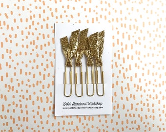 Gold Glitter Planner Clips Planner Accessories Planner Supplies Page Markers Book Marks Paper Clips SET OF 4