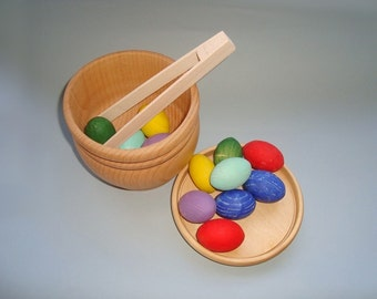 Sorting eggs. Wood rainbow eggs. Wooden eggs. Developement toy. Wood toys